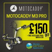 Motocaddy M3 Pro Electric Golf Trolley + FREE Accessory Pack